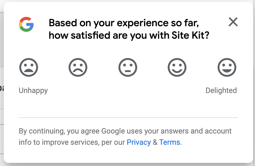 A screenshot of the feedback survey in Site Kit